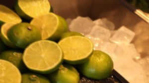 cut limes and ice cubes in tray